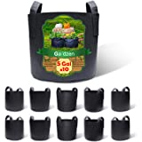 Gardzen 10-Pack 5 Gallon Grow Bags, BPA Free Aeration Fabric Pots with Handles