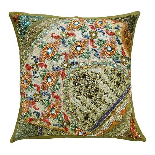 Decoración Cojín Patchwork Beige bordados decorativos Pillow ...