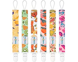 Babygoal Pacifier Clips, 6 Pack Pacifier Holder for Boys and Girls Fits Most Pacifier Styles &Teething Toys and Baby Gift 6PB