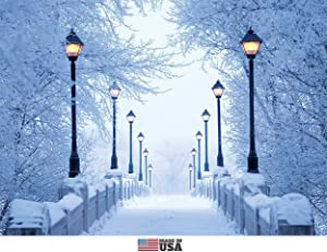 Bridge Lights and Snow Christmas Cards Boxed Set of 12 Holiday Cards and 12 Envelopes. Made in USA.