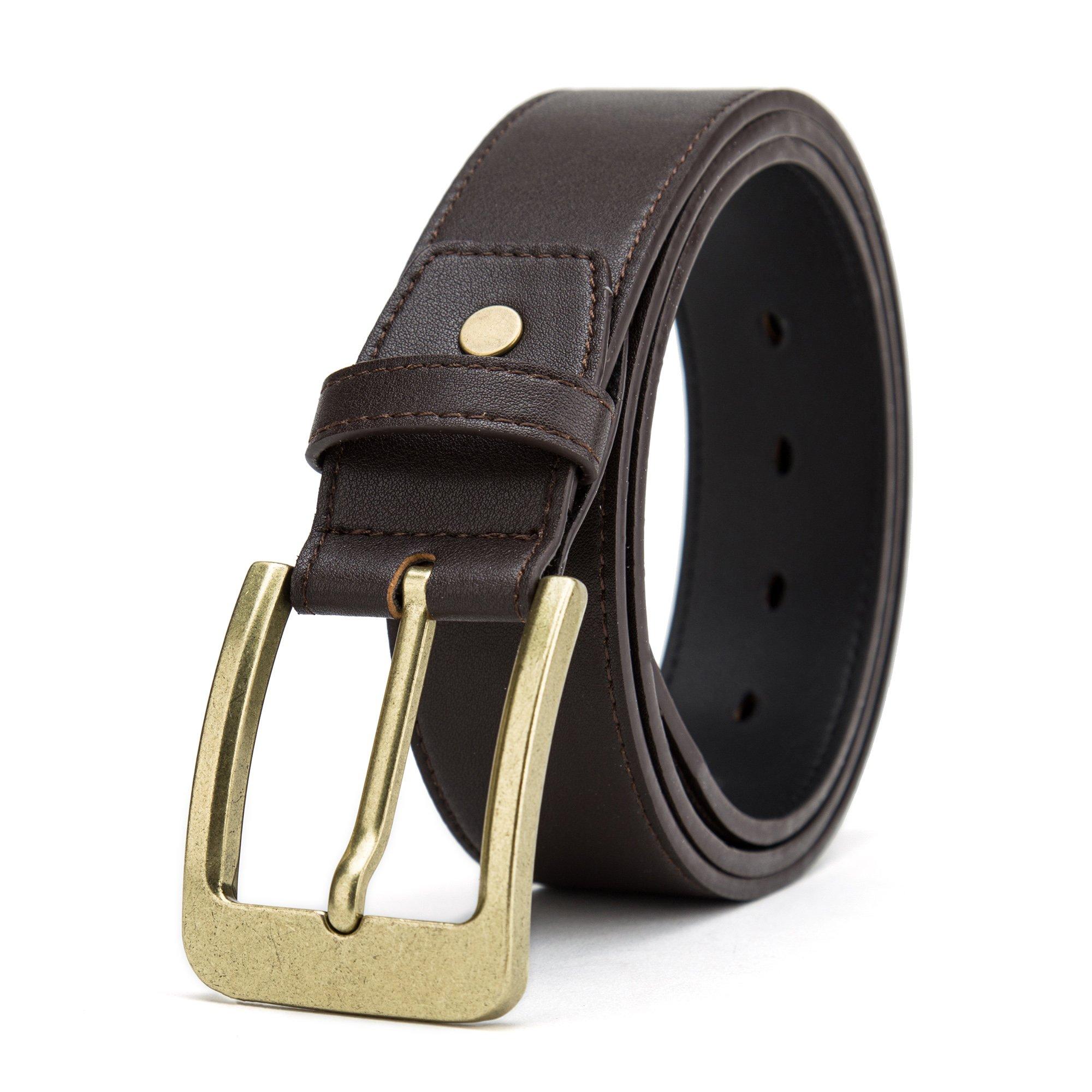 Gurscour Belts for Men Business Leather Belt Formal Dress Width 1 1/2'' (38mm) Dark Brown 120cm (39''-43'')