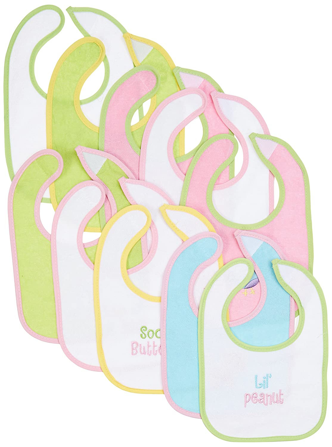 Neat Solutions 10 Pack Water Resistant Drooler Bib Set, Multi-color JB104