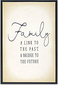 Homekor Family Welcome Sign Saying Family A Link to The Past, A Bridge to The Future Hanging Wall Art Decor with Family Quote - Framed Canvas Print 18 x 12