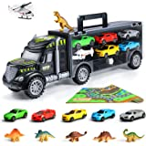 Veken Transport Car Carrier Truck Toy with 6 Dinosaur Toys, 5 Racing Cars, 1 Helicopter, 1 Baby Play Mat and 1 Dice for Board Game, Vehicle Playsets Gift for Ages 3, 4 and 5+ Boys & Girls