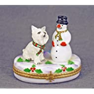 Authentic French Porcelain Hand Painted Limoges box Cute West Highland White Terrier Westie Dog Puppy with Snowman on Box with Winter Scene