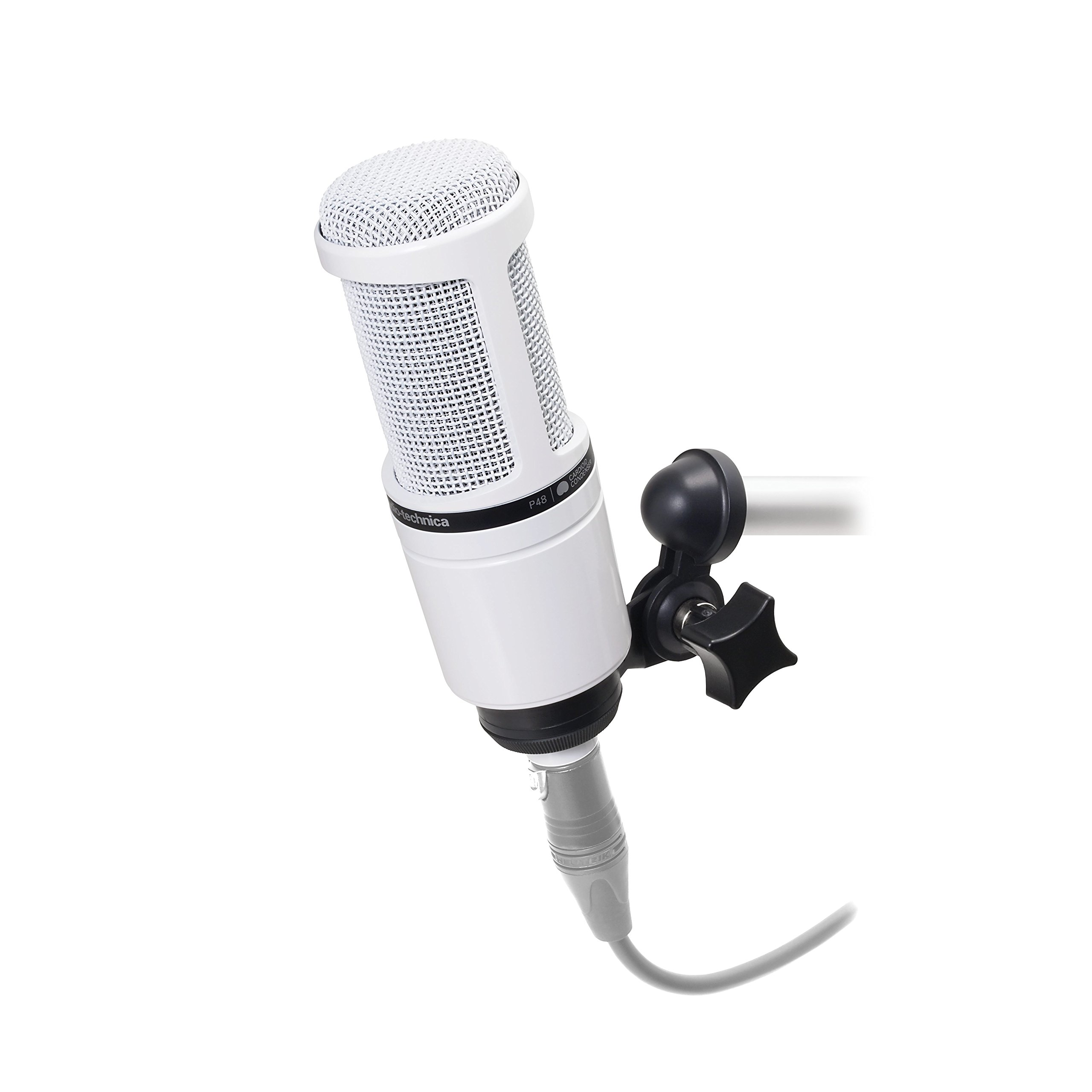 Audio-Technica AT2020 Cardioid Condenser Studio Microphone, White