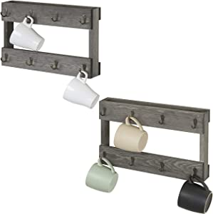 MyGift 8-Hook Wall Mounted Vintage Grey Wood Coffee Mug Hanging Rack, Set of 2