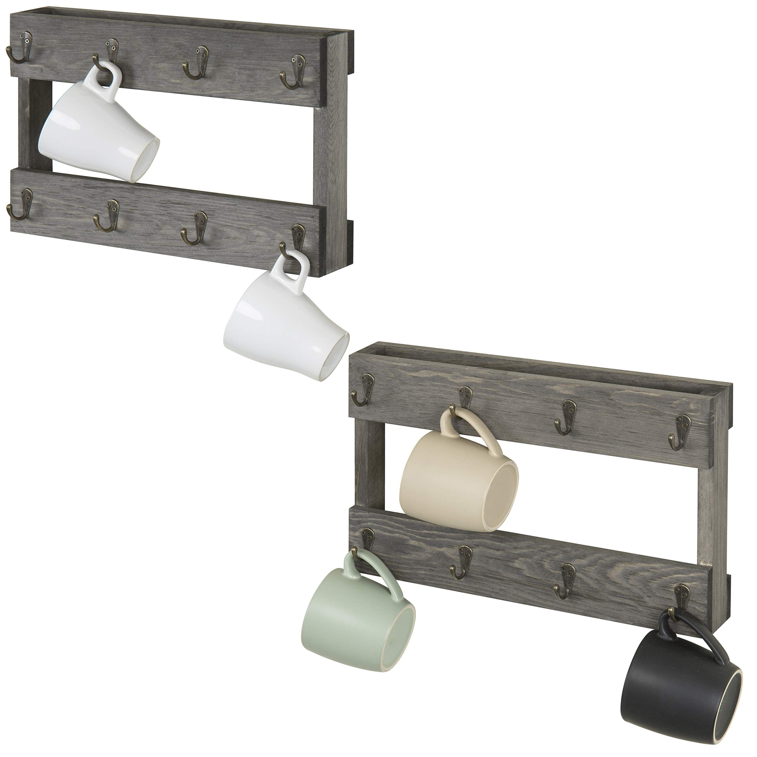 MyGift 8-Hook Wall Mounted Vintage Grey Wood Coffee Mug Hanging Rack, Set of 2 by MyGift