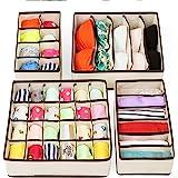 Underwear Organizer Drawer RabbitStorm Organizadores Cajón Divisores, Set de 4 Plegable Debajo de La Cama Dresser Organizació