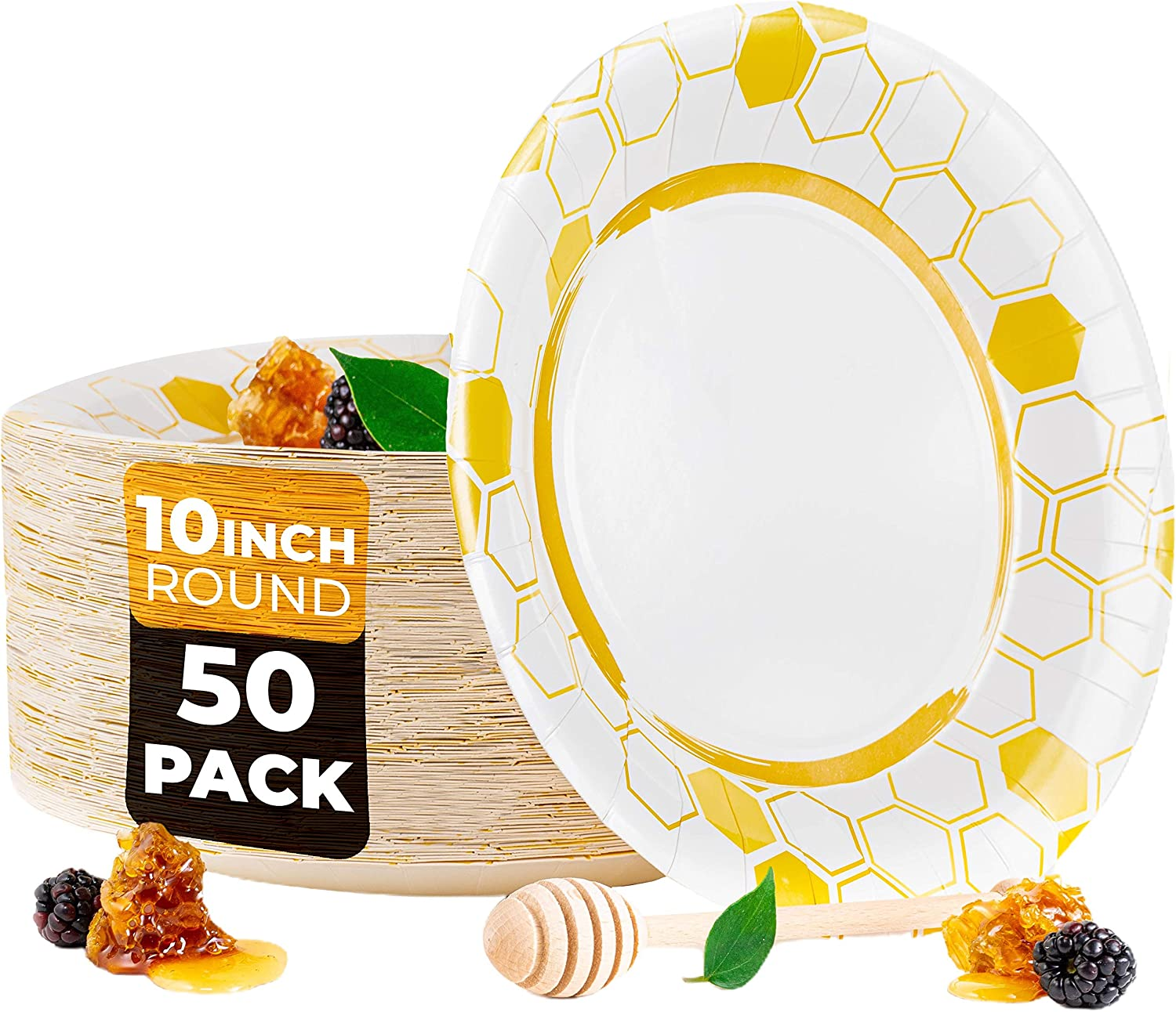 BEELEEVE [50-Pack] Disposable Paper Plates for Light Food - Eco-Friendly Food Grade   Coated   Leak, Soak, Cut Proof - Hot & Cold Food for Parties, Events, Everyday - Sustainable – Compostable(10 in)