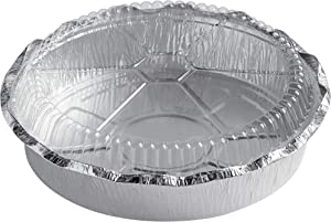 """(500 PACK-9""""D-Lid) Round Foil Container with Clear Dome Lid Disposable Aluminum Food Container Great for Baking and Roasting Aluminum Cooking Pan Foil Cake Trays To Go Meal Prep Freezer & Oven Safe"""