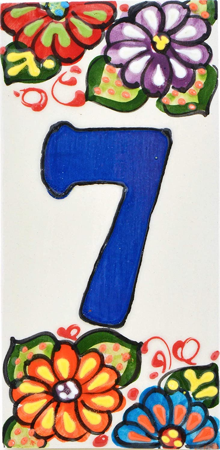 House numbers 6 inch. Handpainted house number tiles for signs, addresses and names. Address numbers for houses. House address numbers and letters. Design GARDEN 5,71