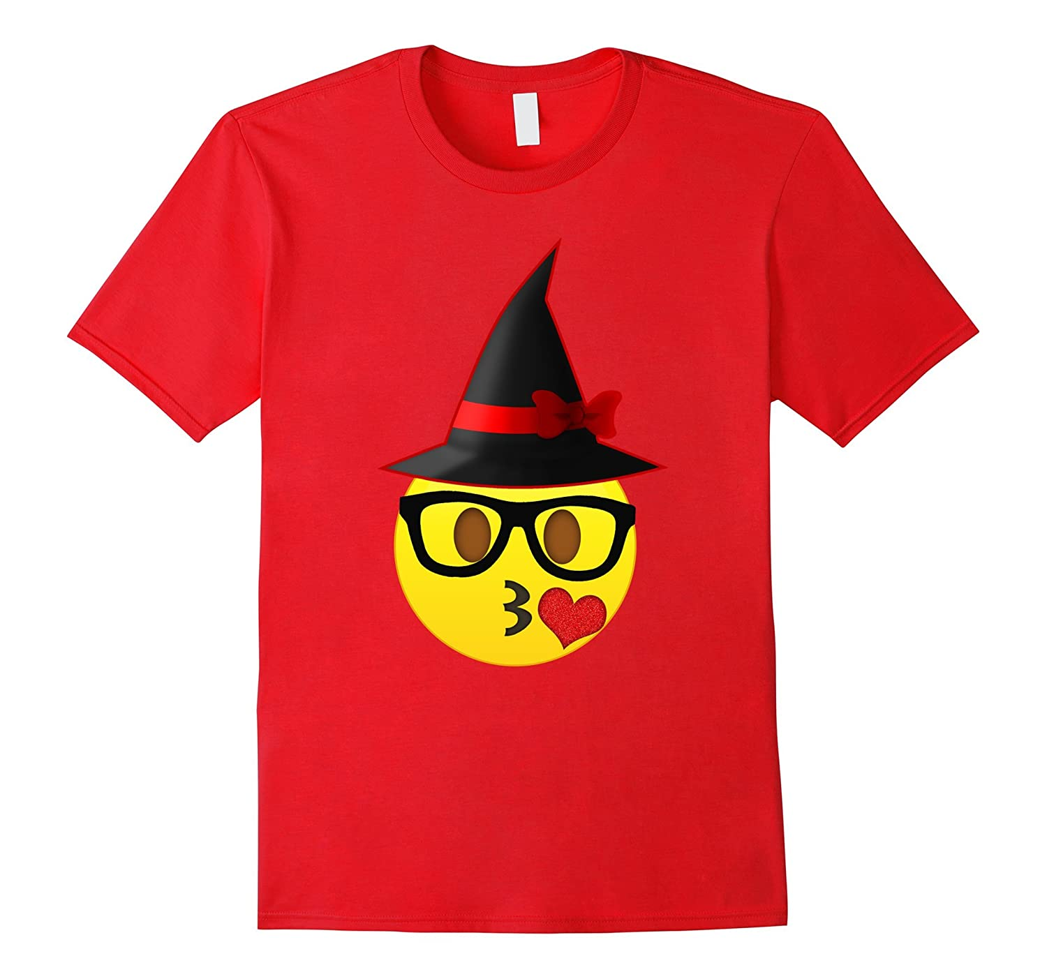 Nerd Emoji Witch Hat Halloween T-Shirt for Girls and Women-FL