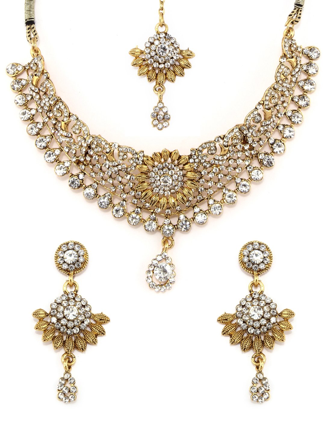 Rubans Gold Plated Traditional Indian Jewelry Set Bollywood Padmavati Ethnic Wedding Bridal Handcrafted Filigree with Pearl and Rhinestone Designer Necklace Set with Maang Tikka for Women