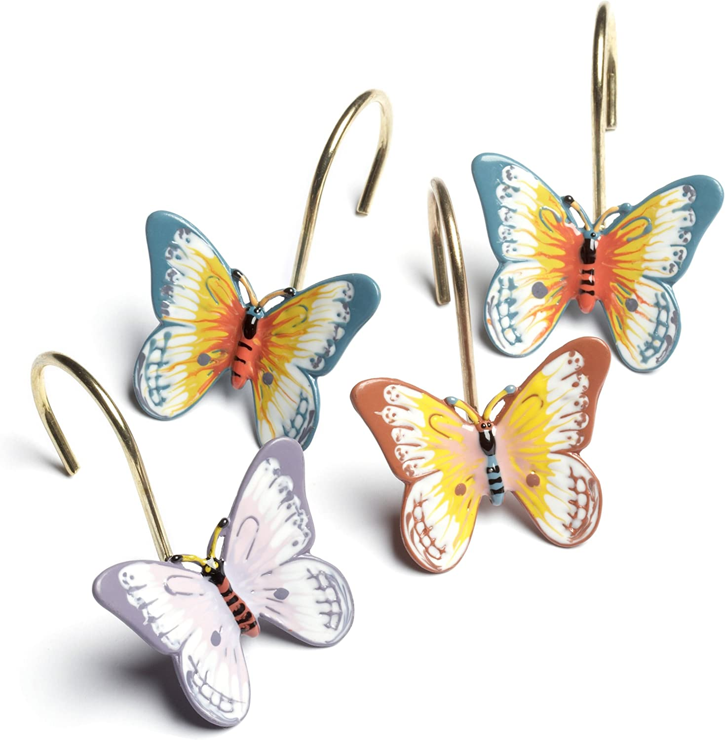Set of 12 Butterfly Shower Curtain Hooks