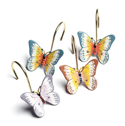 Image Unavailable Not Available For Color Lenox Butterfly Meadow Set Of 12 Shower Curtain Hooks