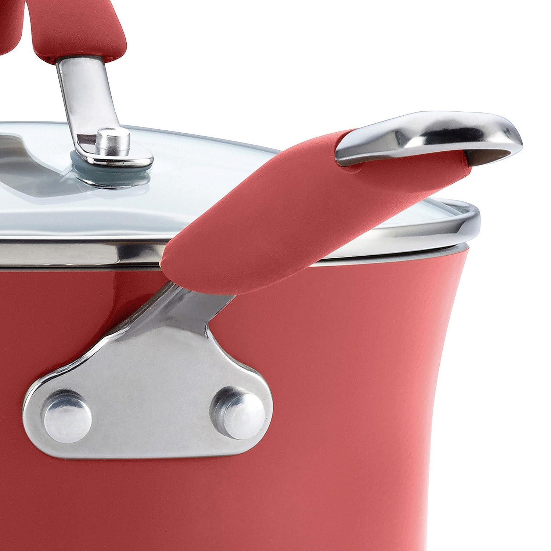 Rachael Ray Cucina Hard Porcelain Enamel Nonstick Cookware Set 12-Piece Cranberry Red Meyer 16339