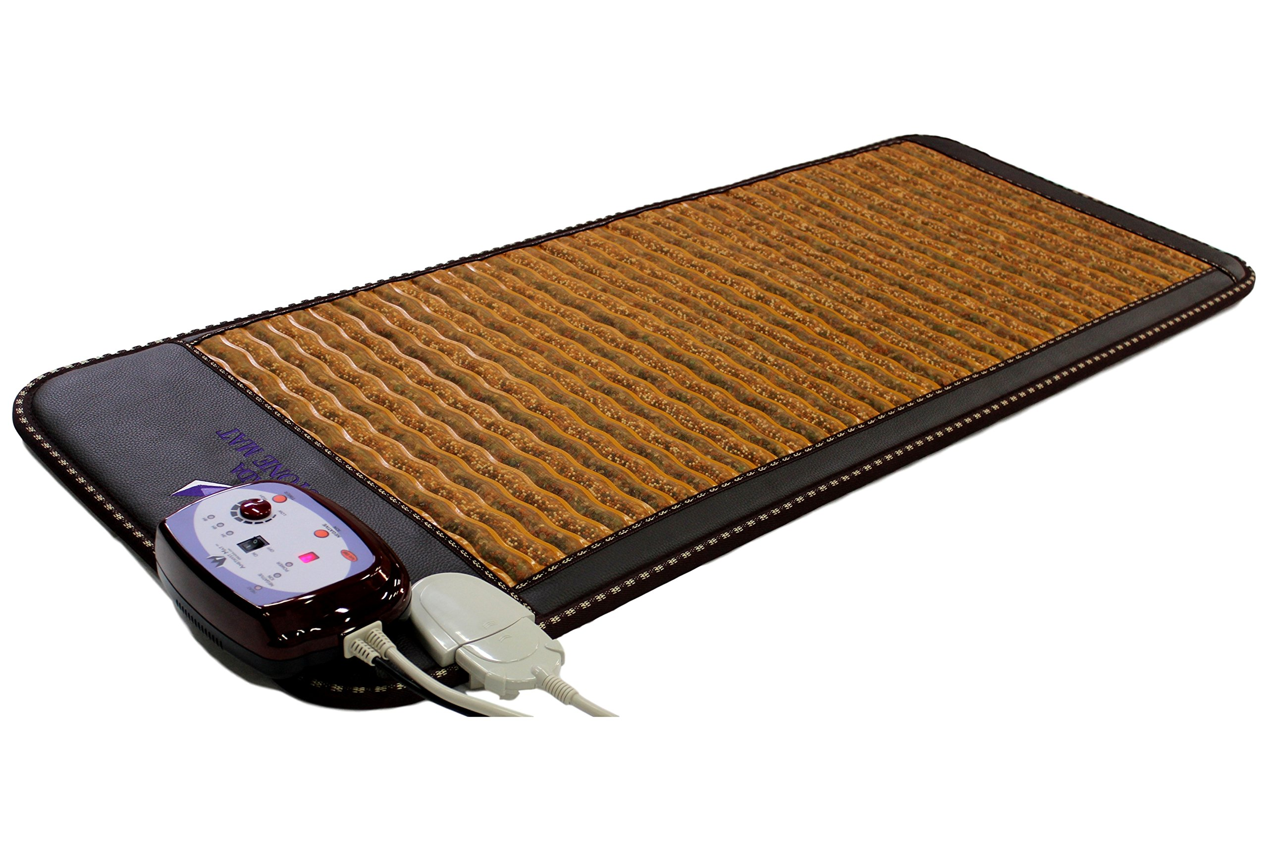 "Far InfraRed PEMF Gemstone Mat 59''L x 24""W - Made in Korea - Amethyst - Agate - Chalcedony - Garnet - Tourmaline - Deep FIR Heat - Negative Ion - Bio Magnetic Therapy Pad - FDA Registered Manufacturer"