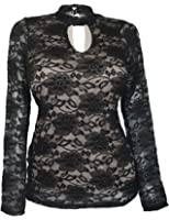 eVogues Women's Floral Lace Long Sleeve Top Black