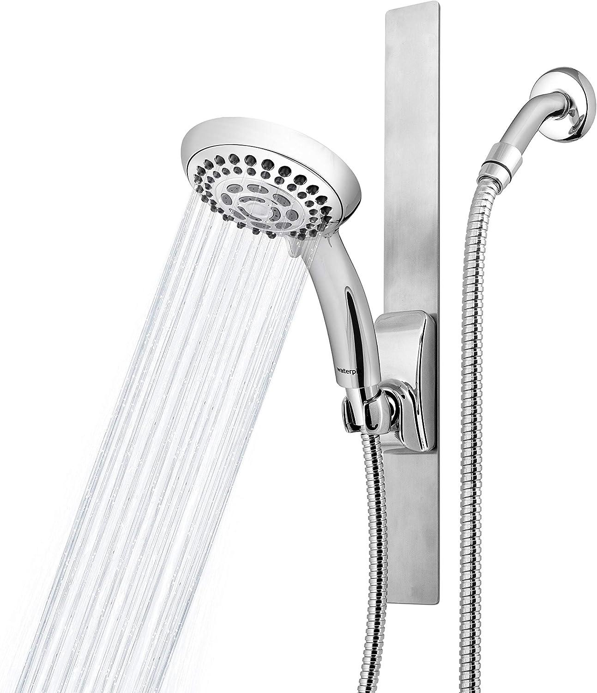 Stainless Steel Bathroom Shower Riser Rail Sliding Bar Adhesive with Soap Dish