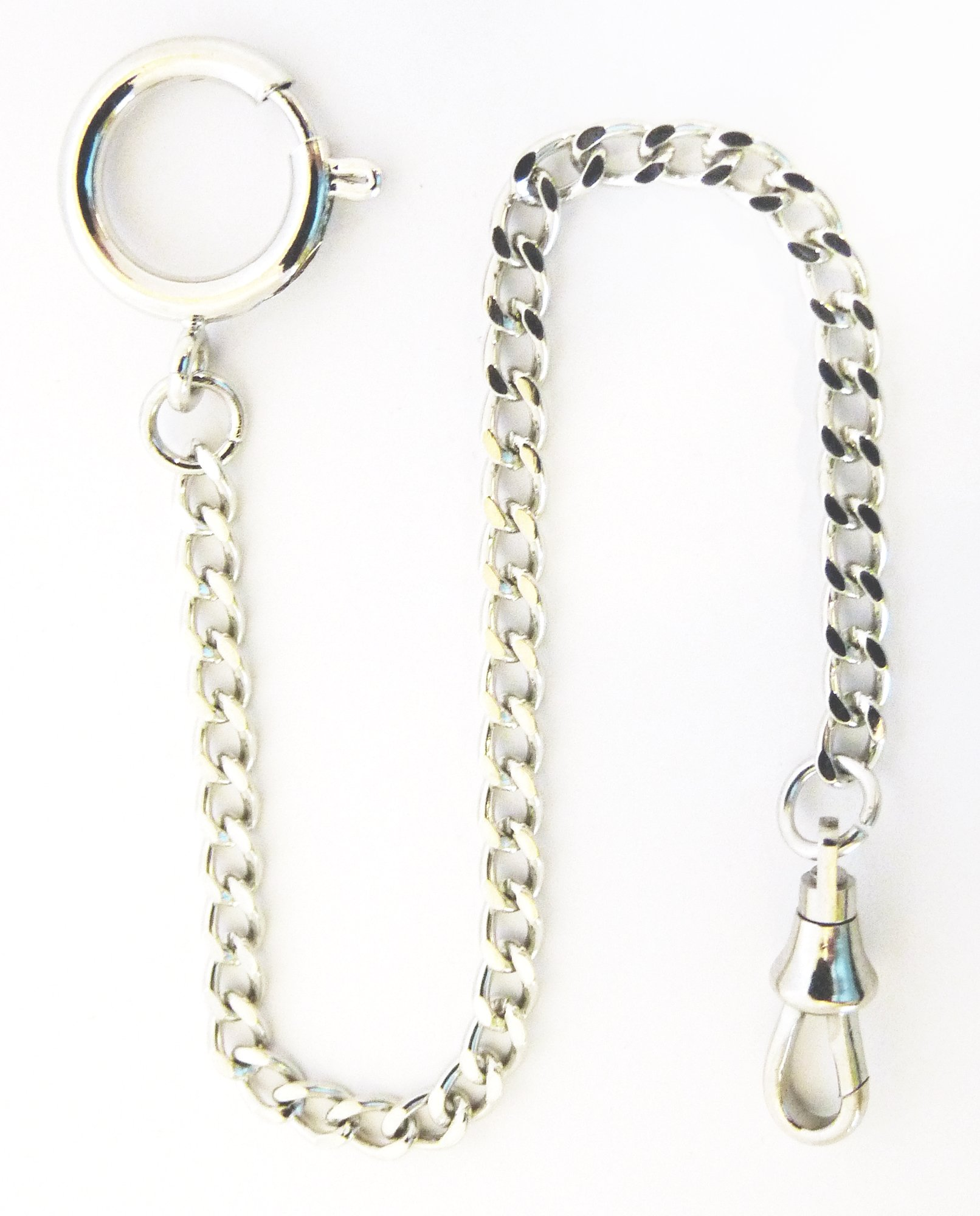 Dueber Chrome Plated Curb Pocket Watch Chain with Spring Ring