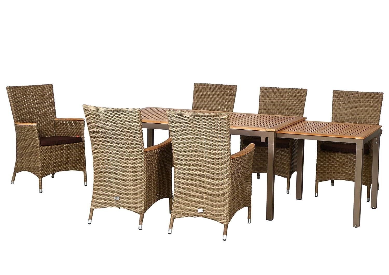 13-teilige Luxus Aluminium Teak Polyrattan Geflecht Gartenmöbelgruppe Hastings , 6 Diningsessel, 6 Auflage und ein Ausziehtisch Geneva 160/260x90, braun - sand