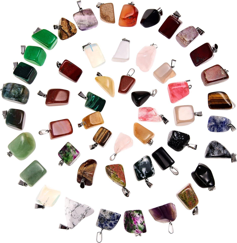 50 Piezas de Colgante de Piedra de Cristal Abalorios de Piedra de Curación Irregular Mezclados Dijes de Cuarzo con Bolsa de Almacenaje para Fabricación de Bisutería
