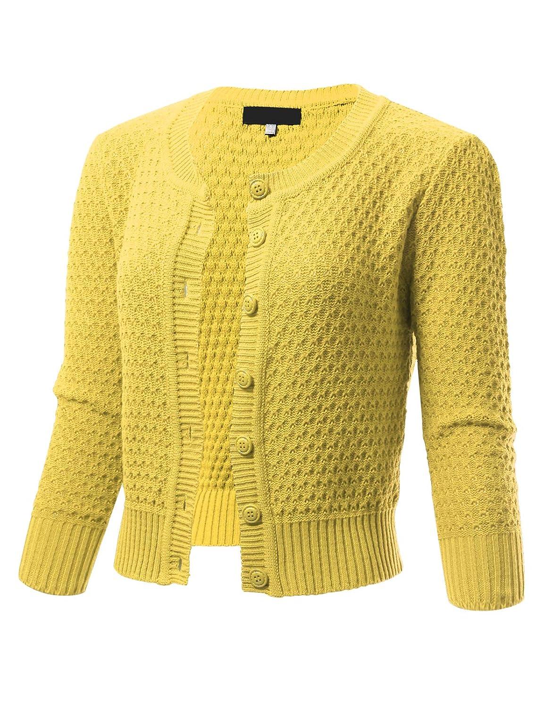 Baby Yellow ARC Studio Womens Button Down 3 4 Sleeve Cropped Knit Cardigan Crochet Sweater (SXL)