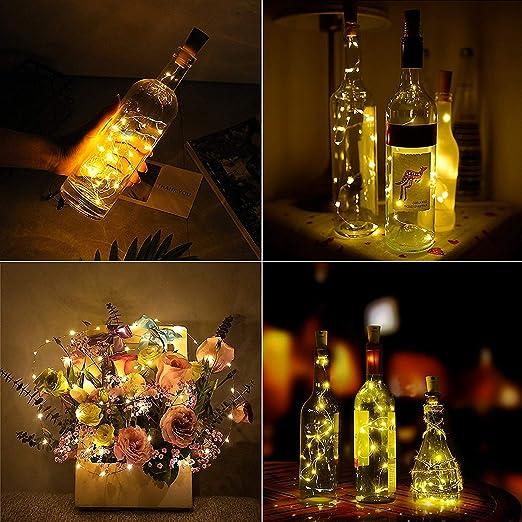 Luz de Botella,Led Corcho Botella, Corcho Luces Led, Tapon Led, MMTX 12 pcs 20 Led Luz de Bricolaje, Lámparas Decoradas, Boda, Fiestas, Navidad, las ...