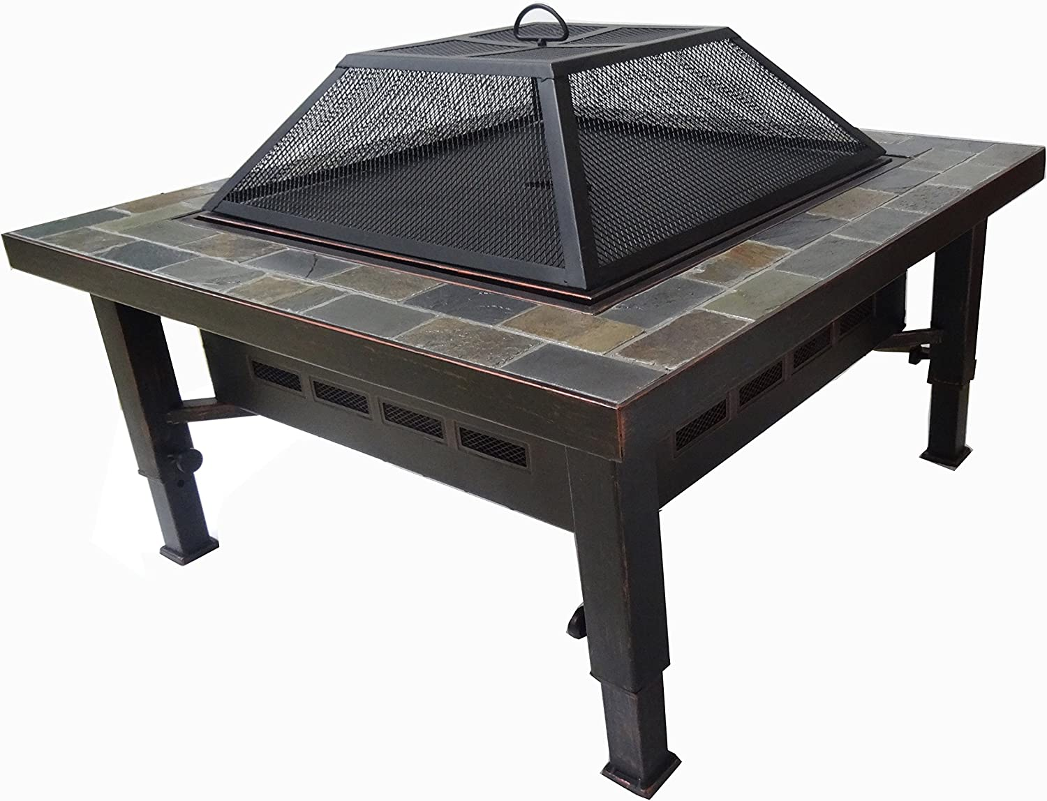 Amazon Com Global Outdoors 34 In Adjustable Leg Square Slate Top Fire Pit With Spark Screen Weather Resistant Cover And Safety Poker Garden Outdoor