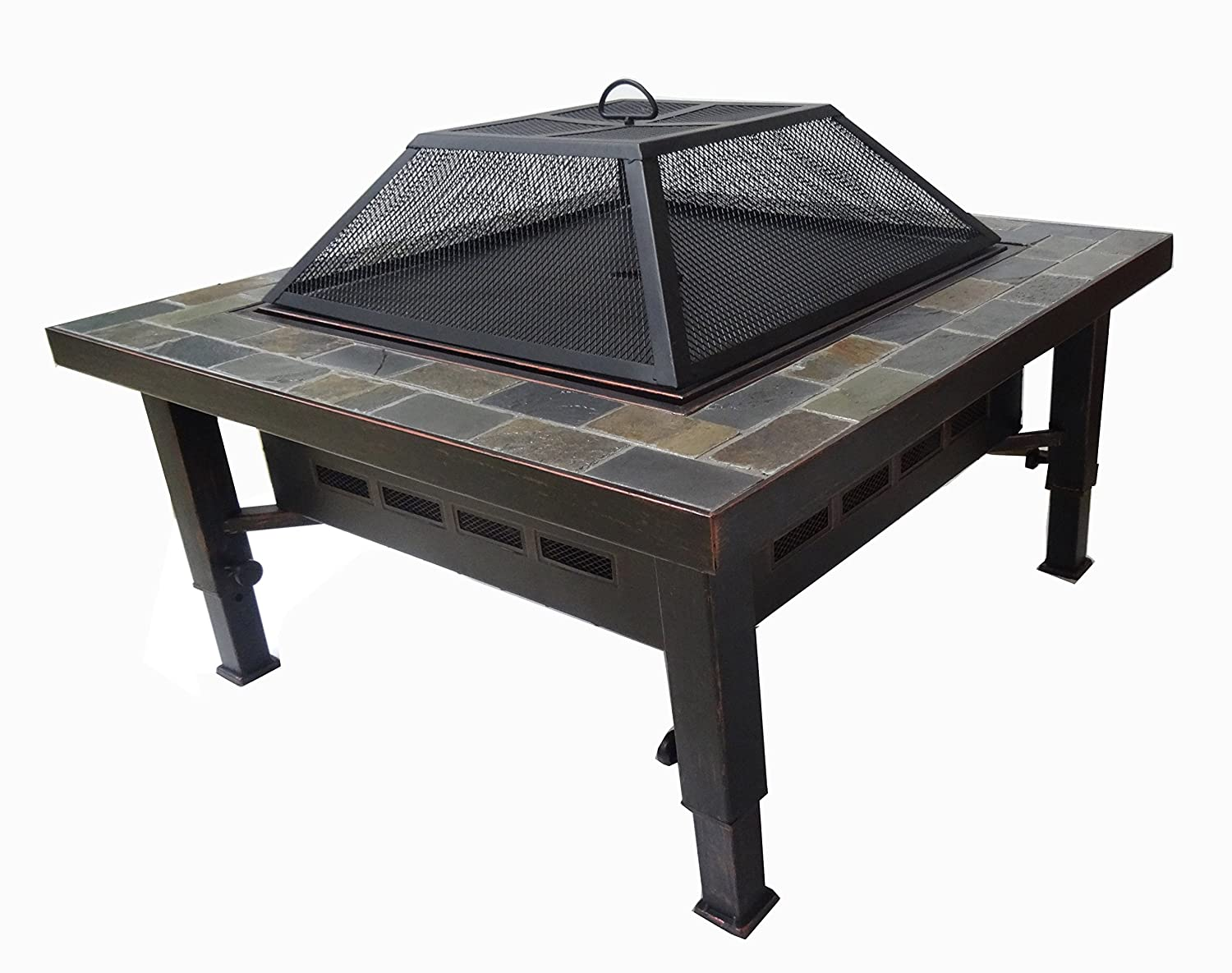 Global Outdoors 34-in Adjustable Leg Square Slate Top Fire Pit with Spark Screen, Weather Resistant Cover and Safety Poker Global Outdoors Inc