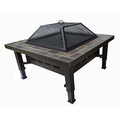 Adjustable Leg Square Slate Top Fire Pit with Spark Screen, Weather Resistant Cover and Safety Poker