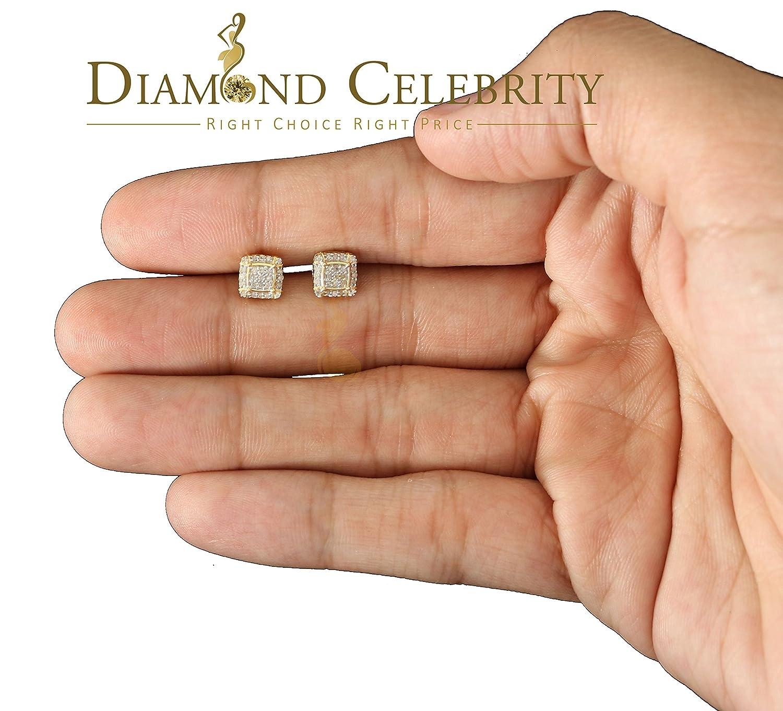 10K Yellow Gold Finish Real Diamond 0.15CT Silver Square Mens Studd Earring