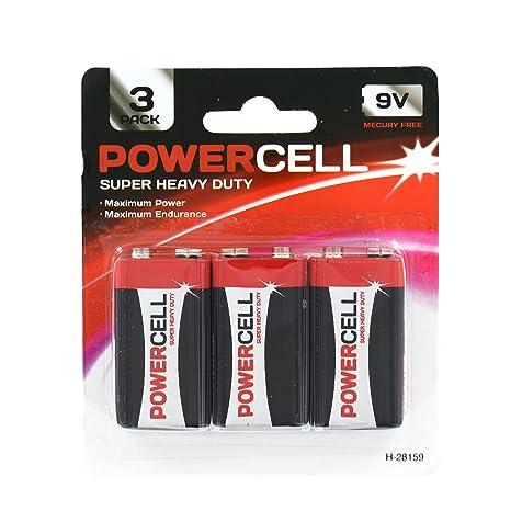Amazon.com: Zizzi nuevo 3 x 9 V batería de Powercell Heavy ...