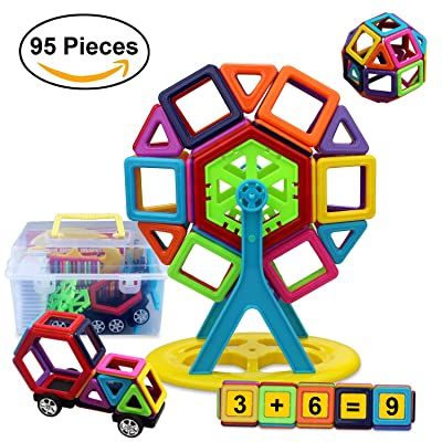 Magnetic Building Blocks ,CUDNY 95 Pieces Magnetic Stacking Blocks 3D DIY Educational Toy Magnetic Construction Tiles Sets for kids over 3 years old Creative and IntelligenceDevelopment