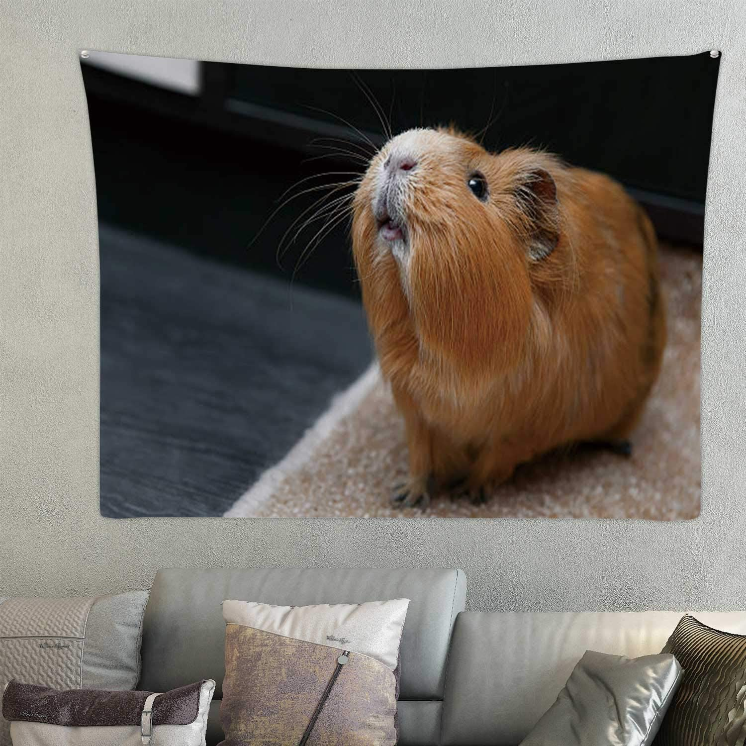 Tstyrea Portrait of red Guinea Pig.Guinea Pig,Tar Hair Standing On End Wall Hanging Blue 78.7'' x 59.1''(WxH)