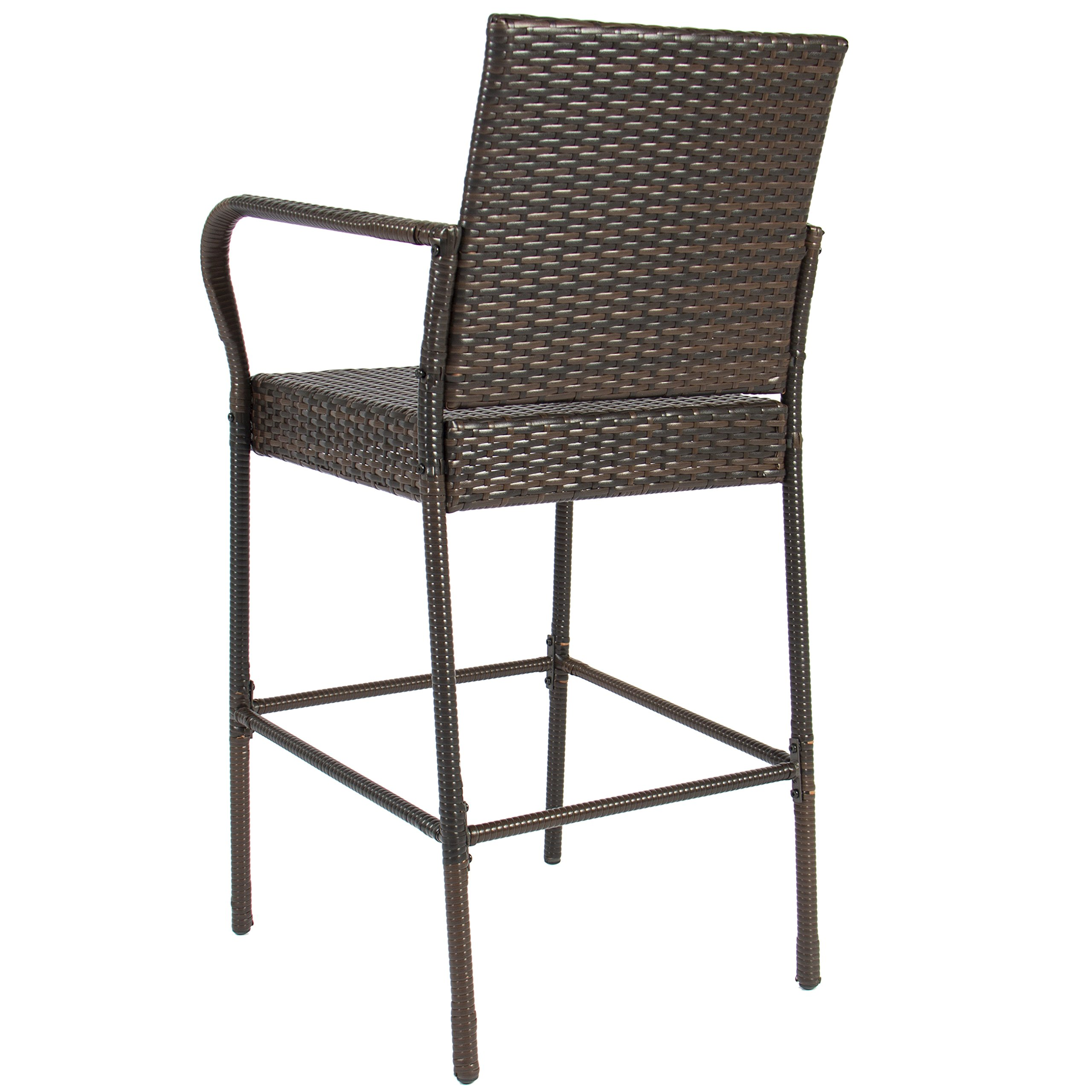 Best Choice Products Set of 2 Outdoor Brown Wicker Barstool Outdoor Patio Furniture Bar Stool by Best Choice Products (Image #5)