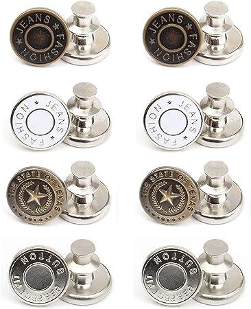 8 Sets 17mm Replacement Jean Buttons No Sew Instant Button Detachable Pants Button