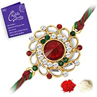 Sukkhi Elegant Kundan Rakhi with Roli Chawal and Raksha Bandhan Greeting Card For Men