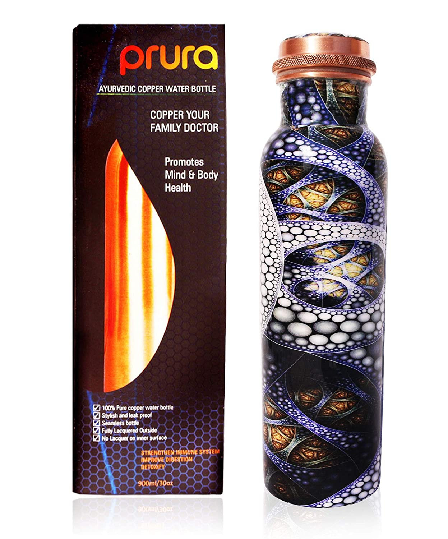 PRURA Bouteille deau en cuivre ayurv/édique anti-fuite 900ml//30oz Design 10