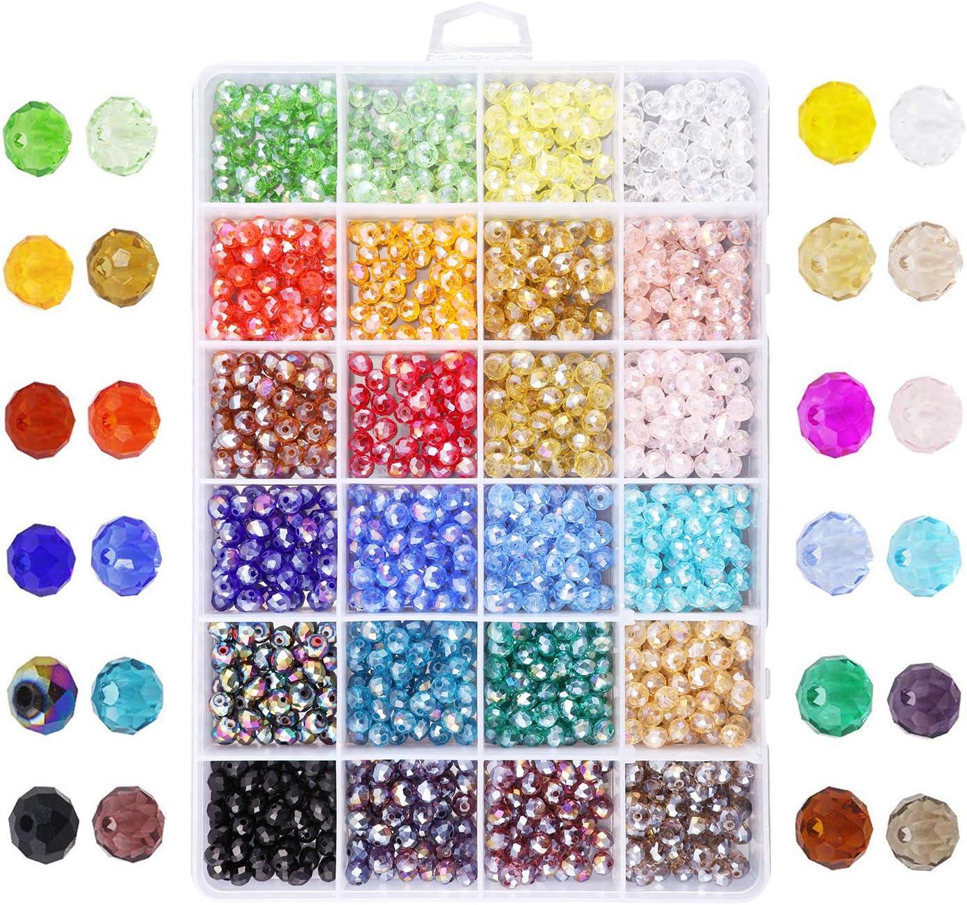 Cuentas de cristal circulares de 6 mm, espaciadores para pulseras y collares, joyería artesanal, manualidades (1200 unidades, 10 colores)
