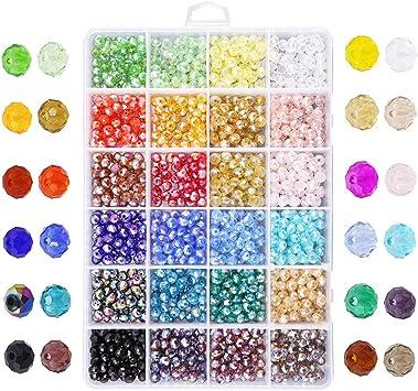 Beads perles perles de verre pink square 8 pièces avec argent Film