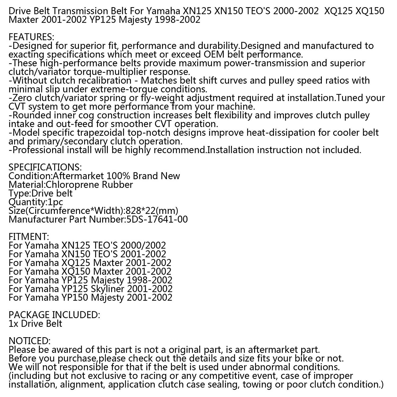 Correa de Transmisi/ón de Fibra Aramida con CVT Suave Duradera y Bien de Calor Antideslizante para Yamaha Majesty YP Maxter XQ TEOS XN 125 150 98-02 5DS-17641-00 Topteng Correa de Transmisi/ón