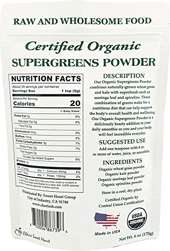 Supergreens Superfood Powder Wheat Grass, Kale, Moringa, Spirulina , 34 Servings, Organic 6 oz
