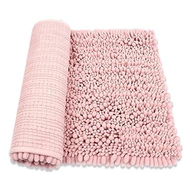 HomDSim 18  x 28  Shaggy Bathroom Bath Shower Rugs Mat Carpet Floor Non-Slip Soft Chenille Plush Absorbent Luxury Microfiber Bristles Washable Kitchen Laundry Rug Bedroom Blanket