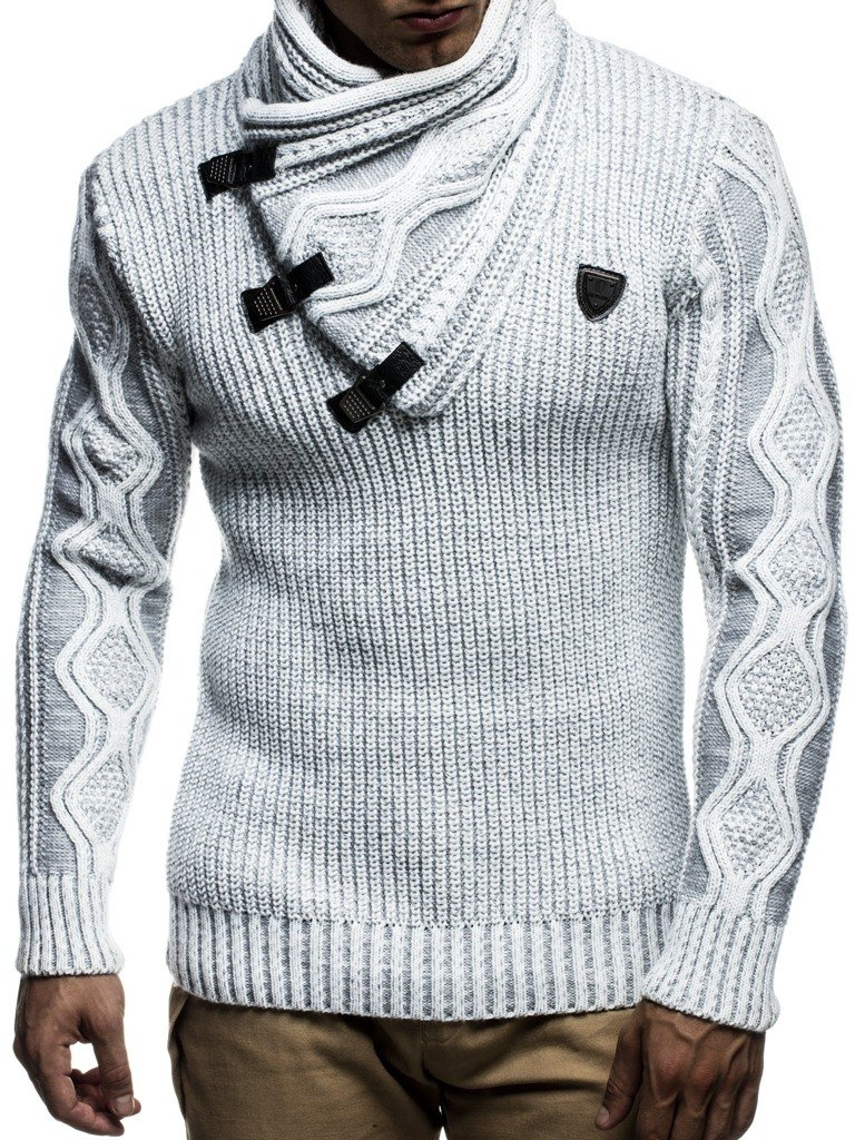Leif Nelson LN5195 Men's Pullover With Faux Leather Accents,US-L / EU-XL,Ecru Grey