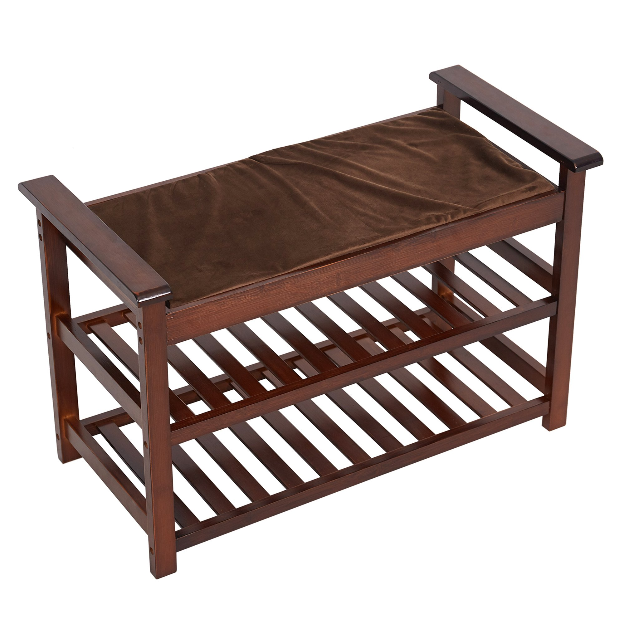 Lucky Tree Espresso Upholstered Bench with Padded Seat 2 Tiers Bamboo Storage Rack Standing Shoe organizer Shelf with Cushion for Entryway Bedroom Mud Room