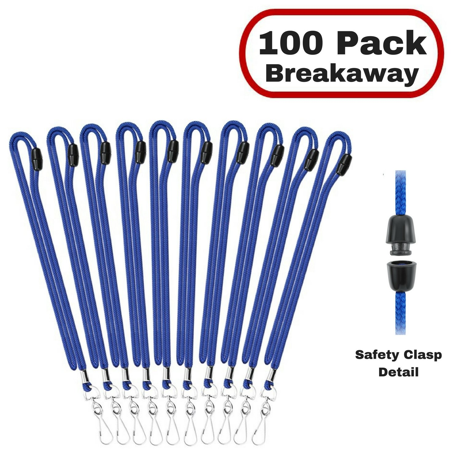 MIFFLIN Safety Lanyards in Bulk for ID Badge Holder (Royal Blue Breakaway, 100 Pack)