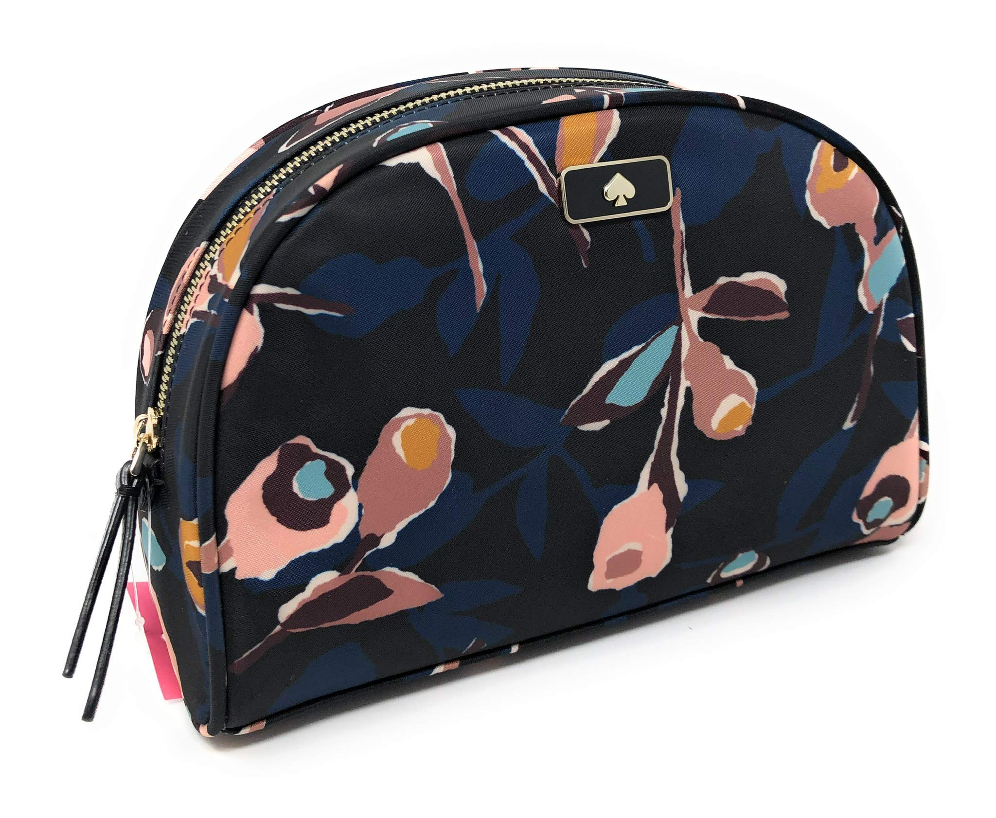 Kate Sapde Medium Dome Cosmetic Make-Up Travel Bag Black Multi Rose