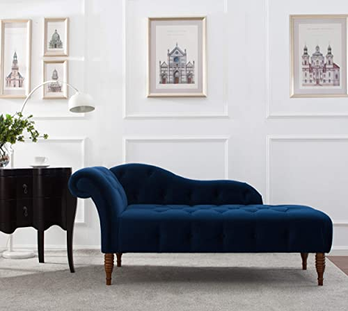 Jennifer Taylor Home, Chaise Lounge, Right Arm Facing, Navy Blue, Velvet, Hand Tufted